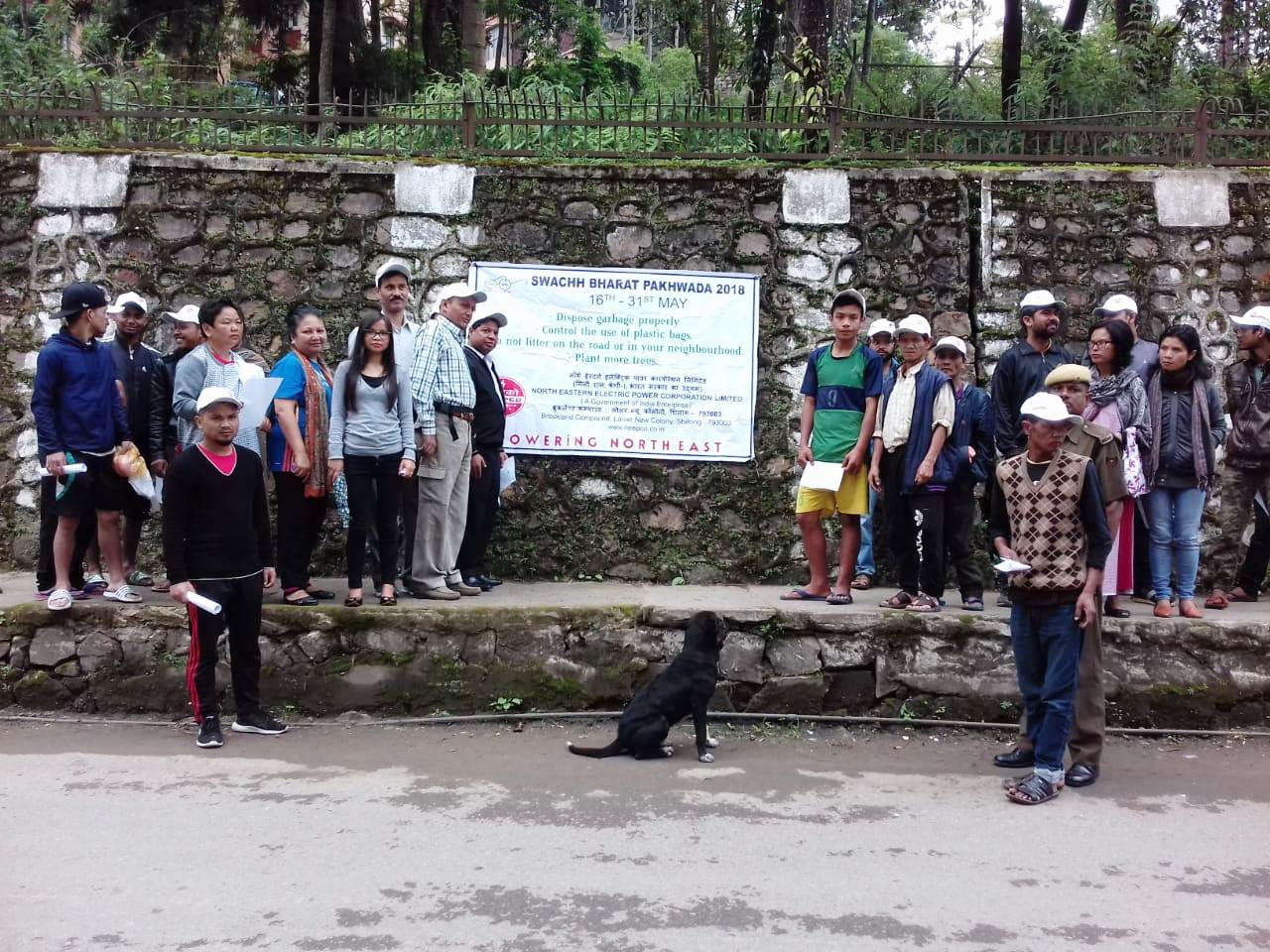 Pledge taking and cleaning drive at Demseiñïong,Shillong