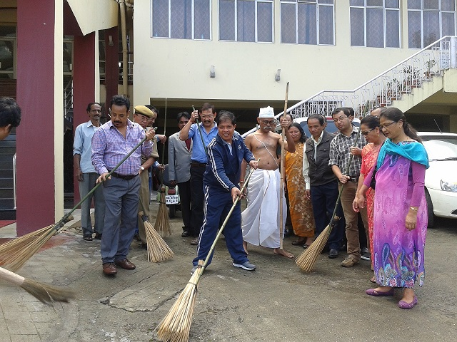 Swachh Bharat Abhiyan being observed in the NEEPCO Head Quarters,Shillong on 2nd October 2014.